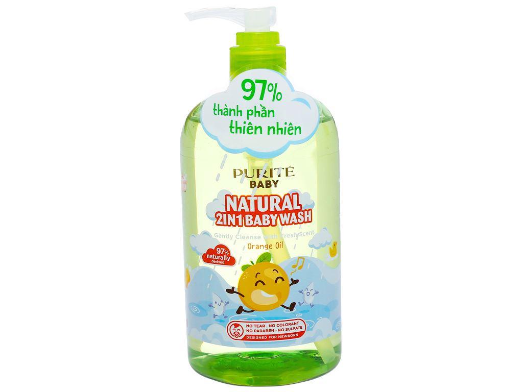 Tắm gội toàn thân cho bé Purité Baby tinh dầu cam 500ml 2