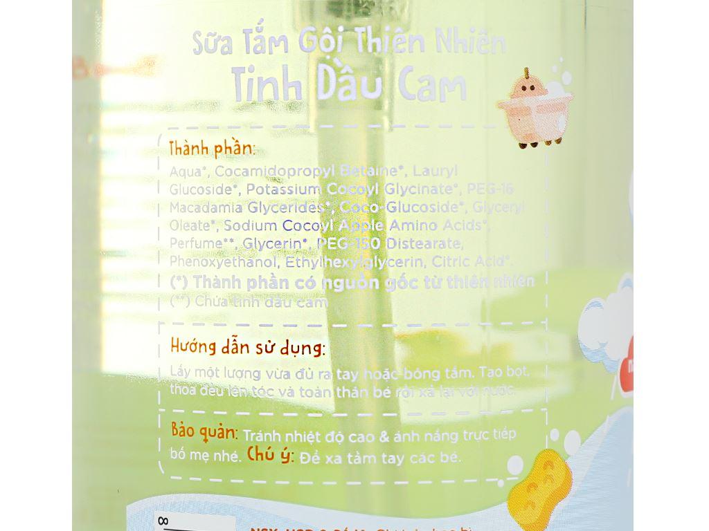 Tắm gội toàn thân cho bé Purité Baby tinh dầu cam 500ml 6