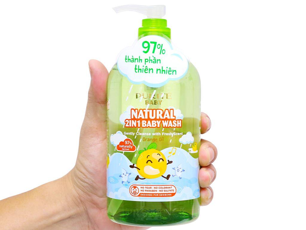 Tắm gội toàn thân cho bé Purité Baby tinh dầu cam 500ml 7