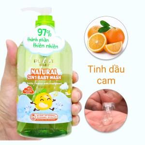 Tắm gội toàn thân cho bé Purité Baby tinh dầu cam 500ml
