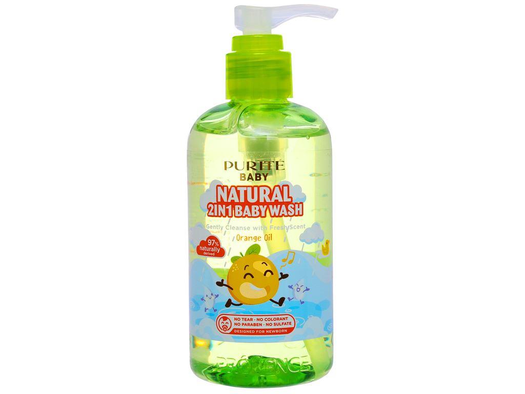Tắm gội toàn thân cho bé Purité Baby tinh dầu cam 250ml 2
