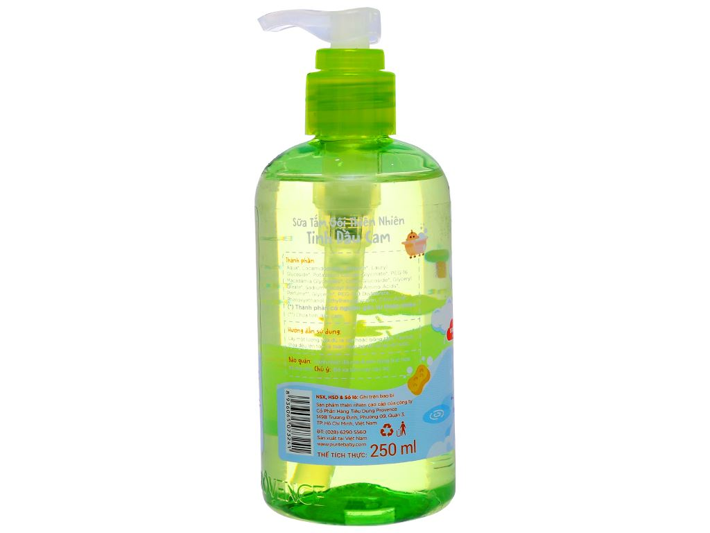 Tắm gội toàn thân cho bé Purité Baby tinh dầu cam 250ml 4