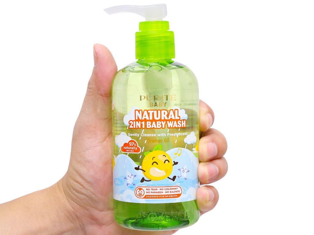 Tắm gội toàn thân cho bé Purité Baby tinh dầu cam 250ml 7