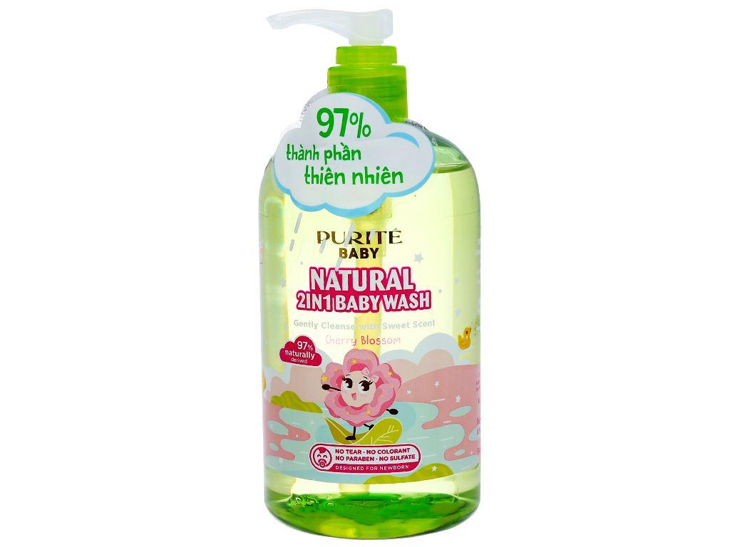 Tắm gội toàn thân cho bé Purité Baby hoa anh đào 500ml 2