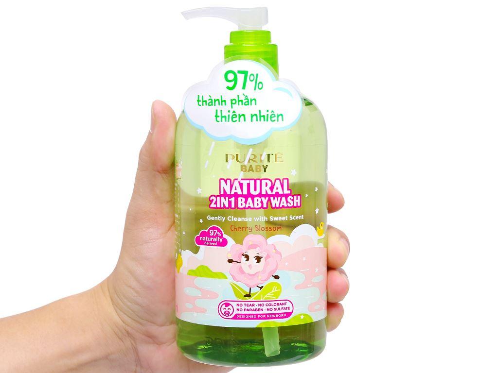 Tắm gội toàn thân cho bé Purité Baby hoa anh đào 500ml 7