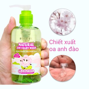 Tắm gội toàn thân cho bé Purité Baby hoa anh đào 250ml