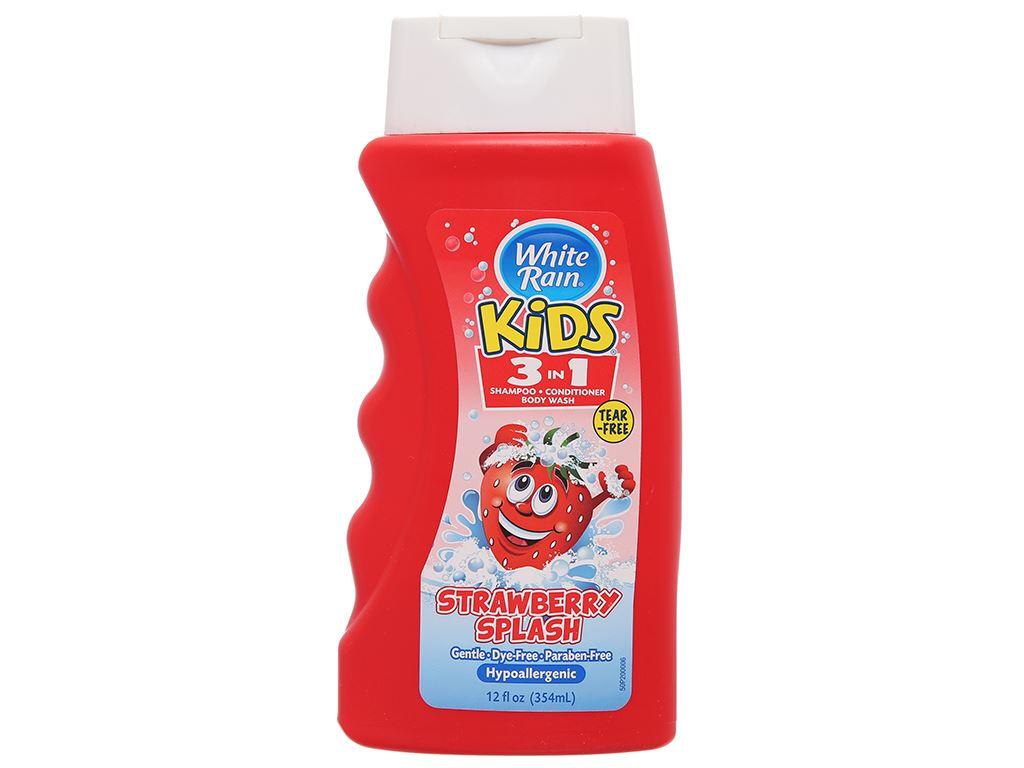 Tắm gội toàn thân cho bé White Rain Kids 3in1 Strawberry Splash 354ml 1