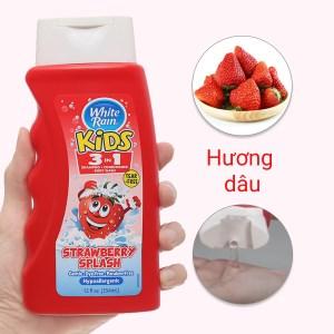 Tắm gội toàn thân cho bé White Rain Kids 3in1 Strawberry Splash 354ml