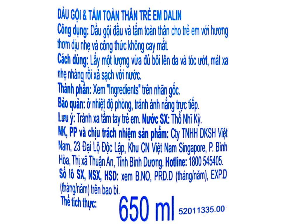 Tắm gội toàn thân cho bé Dalin 650ml 7