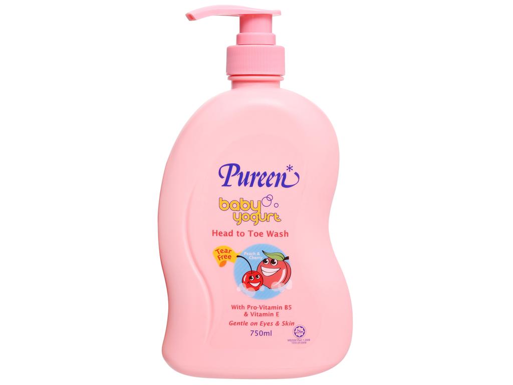 Tắm gội toàn thân cho bé Pureen tinh chất sữa chua hương đào và cherry 750ml 1