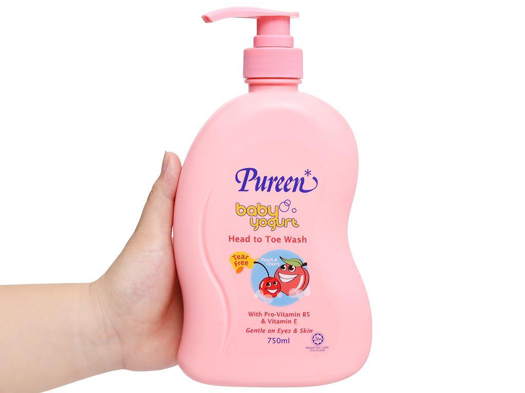 Tắm gội toàn thân cho bé Pureen tinh chất sữa chua hương đào và cherry 750ml 4