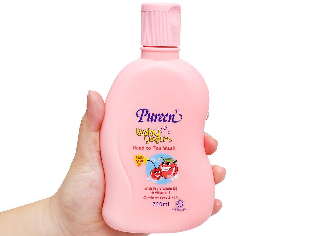 Tắm gội toàn thân cho bé Pureen tinh chất sữa chua hương đào và cherry 250ml 4