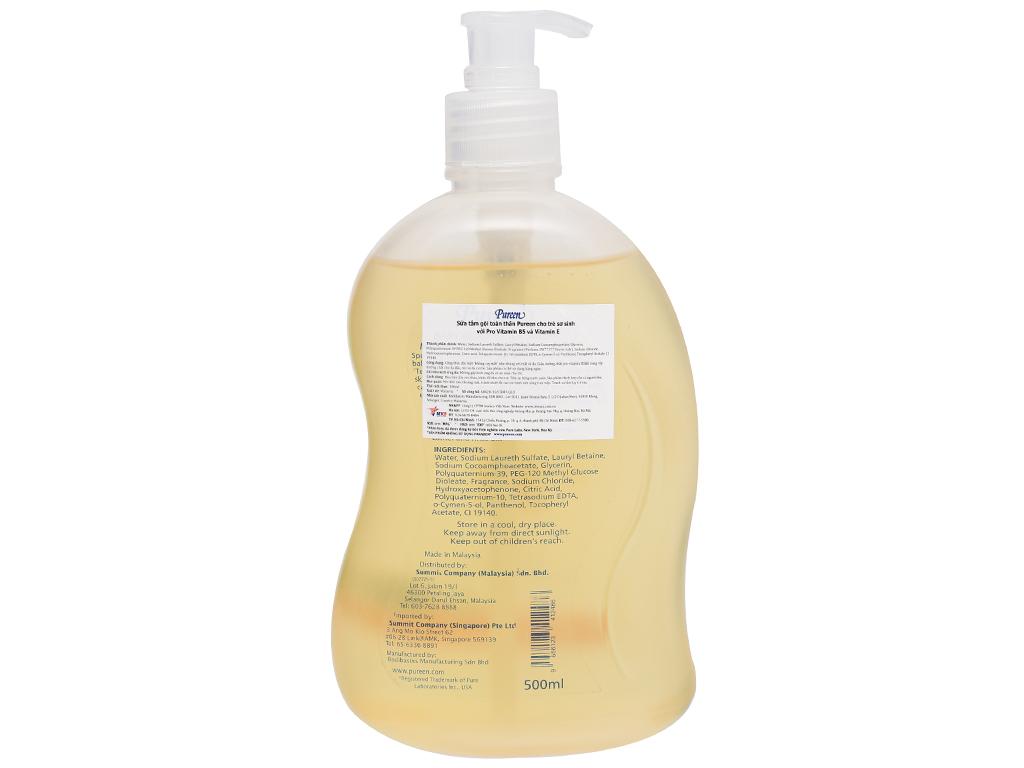 Tắm gội toàn thân cho bé Pureen Pro-Vitamin B5 & Vitamin E 500ml 2