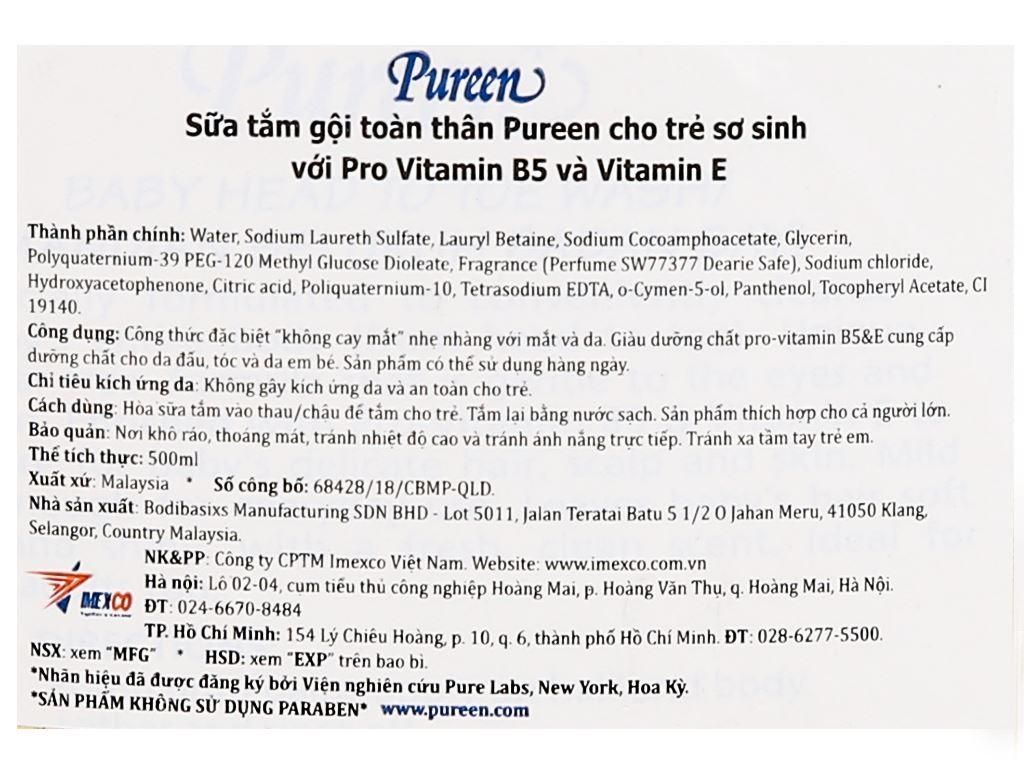 Tắm gội toàn thân cho bé Pureen Pro-Vitamin B5 & Vitamin E 500ml 3