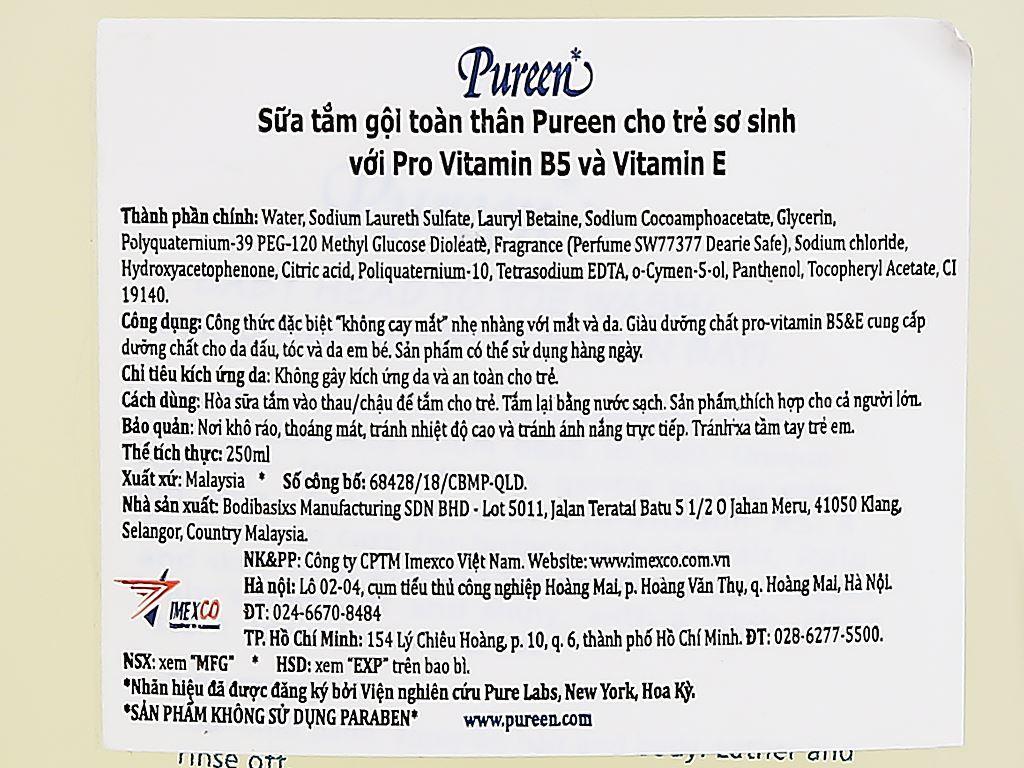 Tắm gội toàn thân cho bé Pureen Pro-Vitamin B5 & Vitamin E 250ml 3