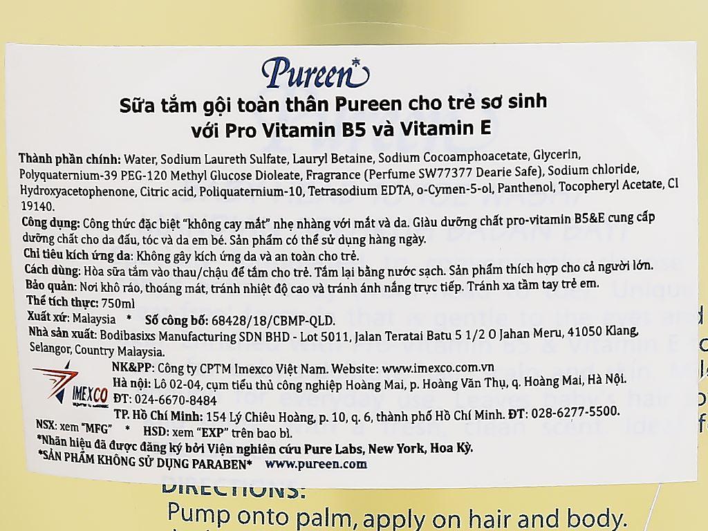 Tắm gội toàn thân cho bé Pureen Pro-Vitamin B5 & Vitamin E 750ml 3