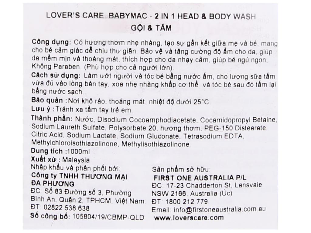 Tắm gội toàn thân cho bé Lovercare Babymac 1 lít 3