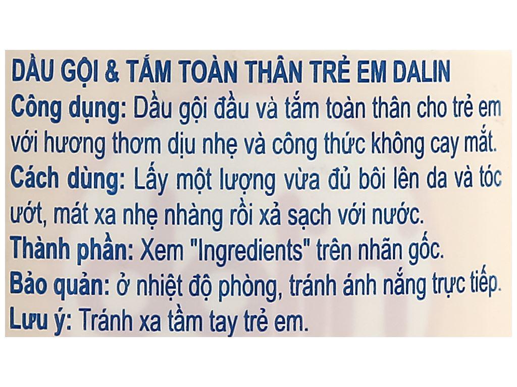 Tắm gội toàn thân cho bé Dalin 200ml 3