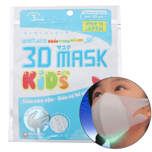 Khẩu trang y tế trẻ em Unicharm 3D Mask gói 3 cái