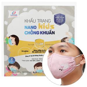 Khẩu trang vải Hanvico Nano kids chống khuẩn 3 lớp gói 2 cái