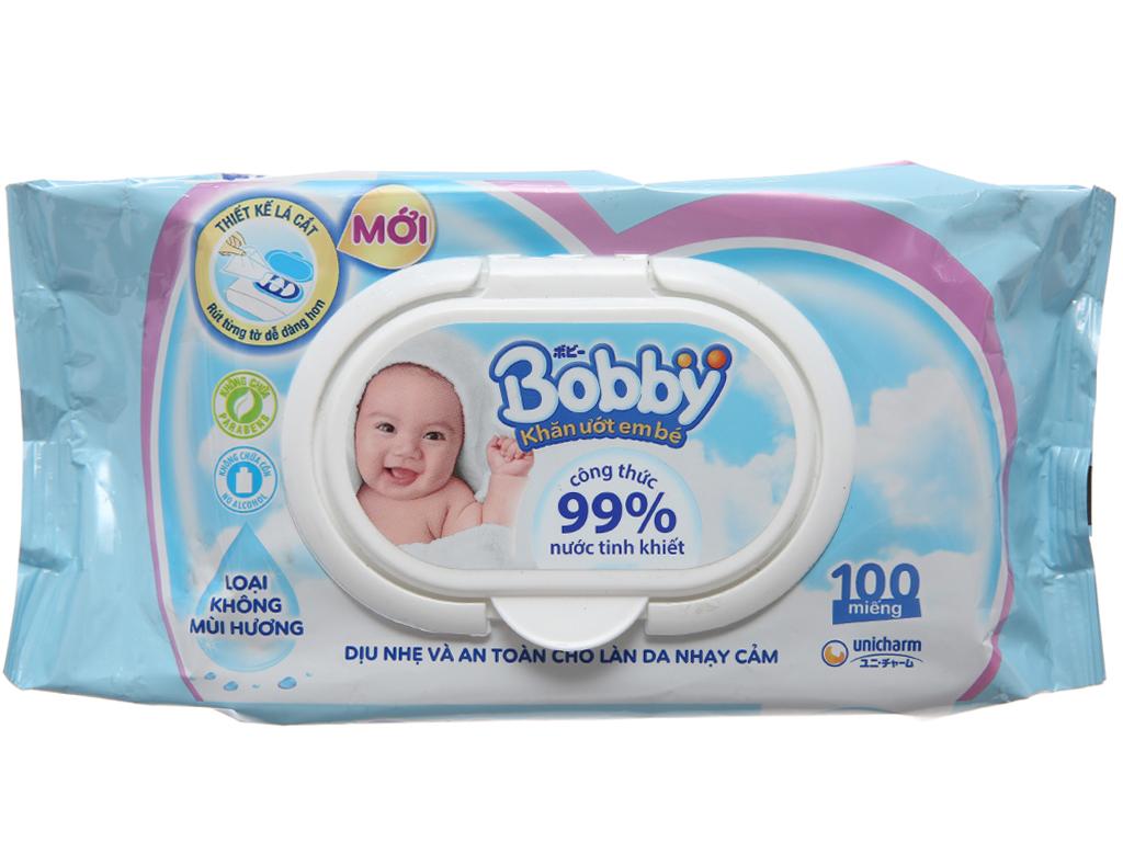 Khăn ướt em bé Bobby không mùi gói 100 miếng 2