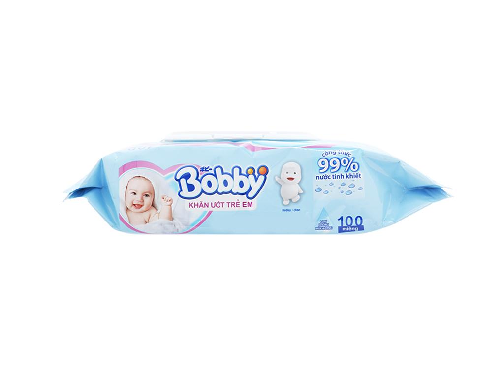 Khăn ướt em bé Bobby không mùi gói 100 miếng 4