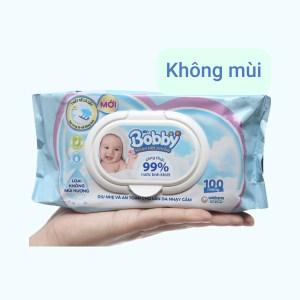 Khăn ướt em bé Bobby không mùi gói 100 miếng