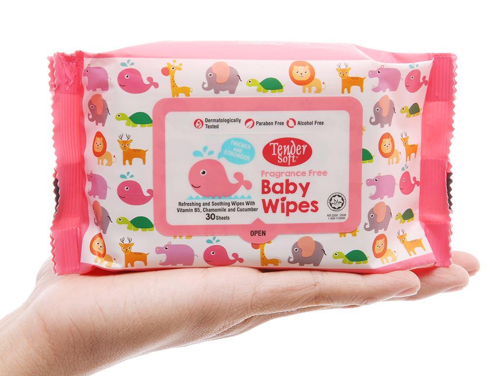 Khăn ướt em bé Tender Soft Baby Wipes không mùi gói 30 miếng 5