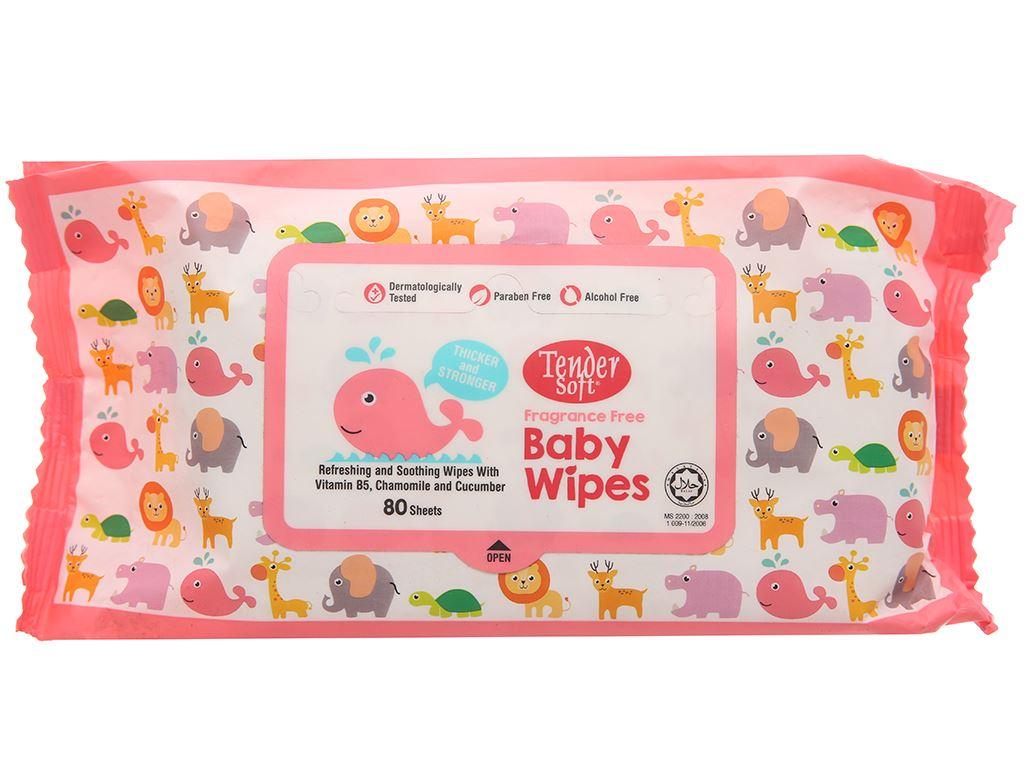 Khăn ướt em bé Tender Soft Baby Wipes không mùi gói 80 miếng 2