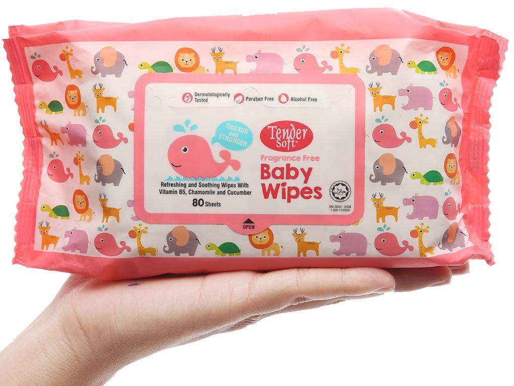 Khăn ướt em bé Tender Soft Baby Wipes không mùi gói 80 miếng 5