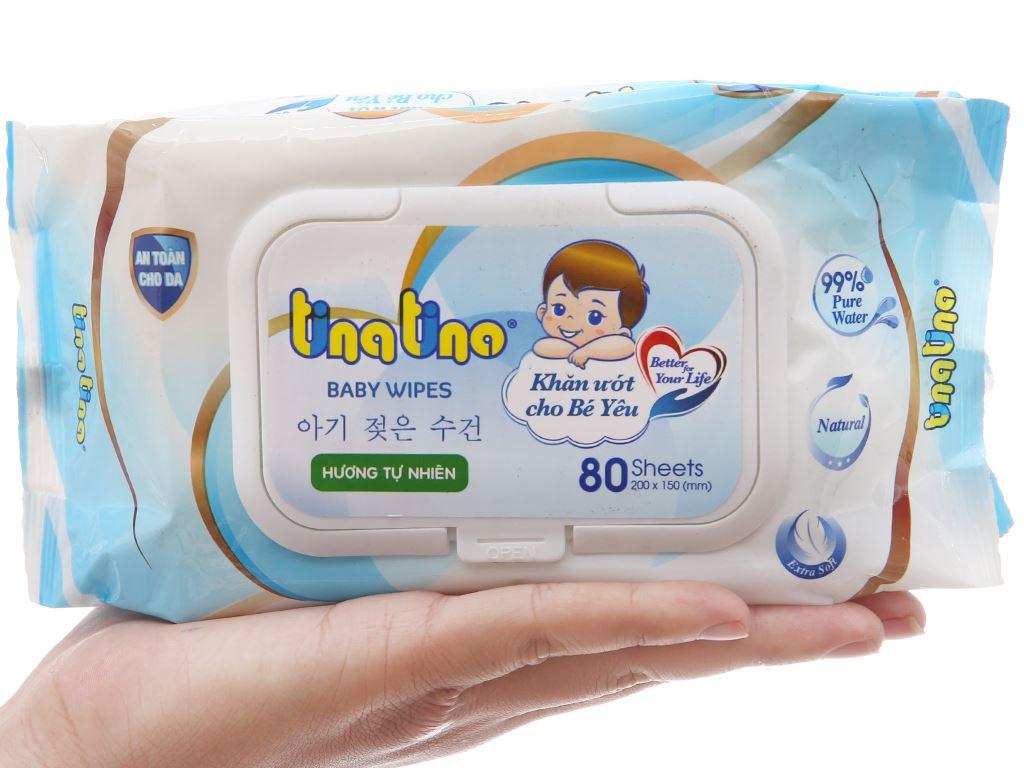 Khăn ướt em bé Tina Tino hương tự nhiên gói 80 miếng 4