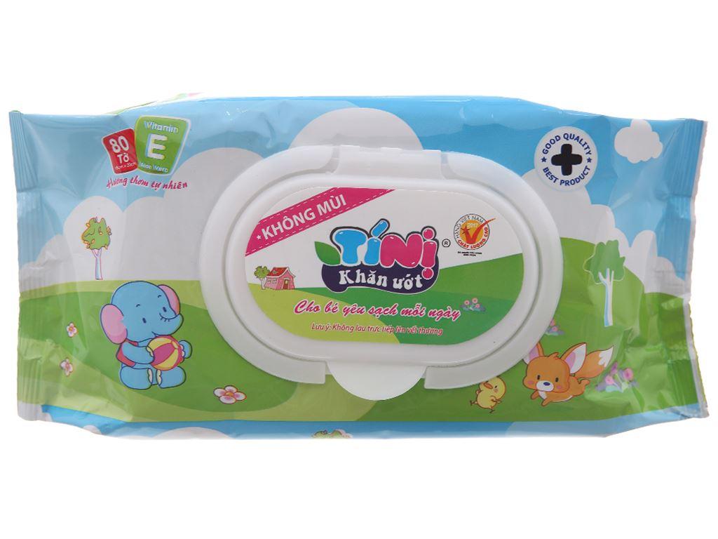 Khăn ướt em bé Tí Nị không mùi gói 80 miếng 2