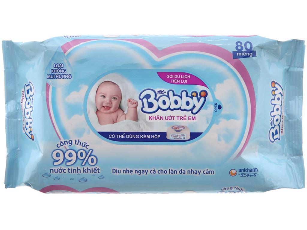 Khăn ướt em bé Bobby không mùi gói 80 miếng 2