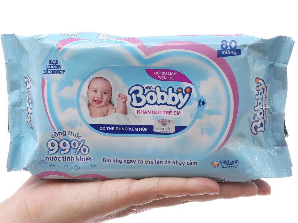Khăn ướt em bé Bobby không mùi gói 80 miếng 4