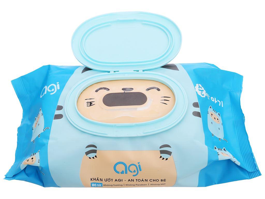 Khăn ướt em bé Agi không mùi gói 80 miếng 10