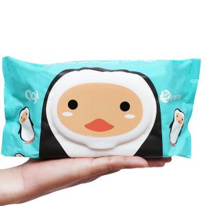 Khăn ướt em bé Agi con ong/chim cánh cụt không mùi gói 100 miếng