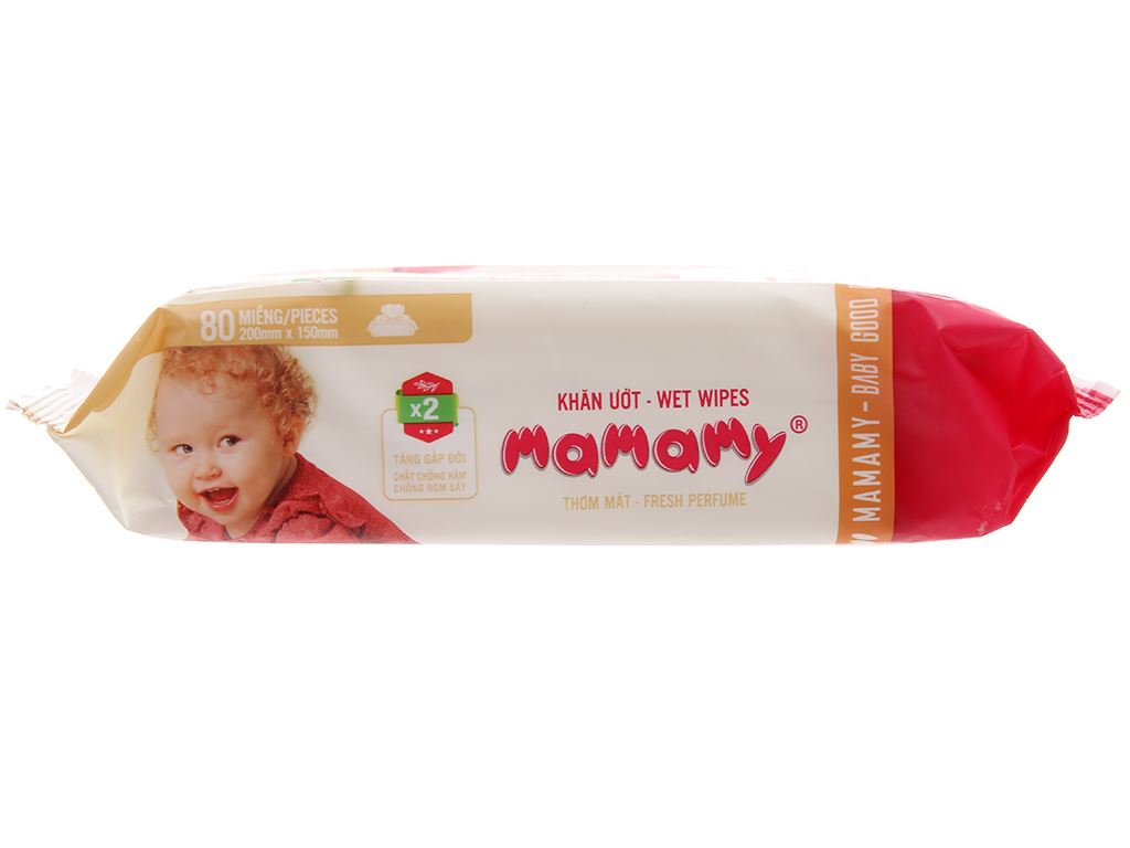 Khăn ướt em bé Mamamy không nắp hương thơm mát gói 80 miếng 3