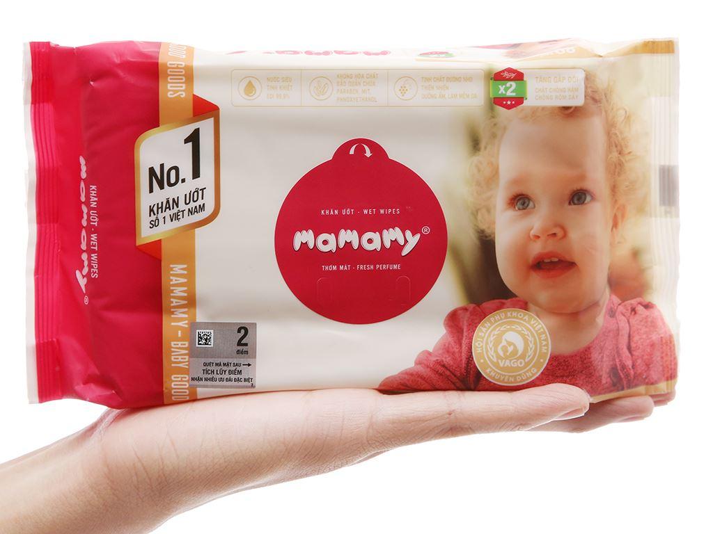 Khăn ướt em bé Mamamy không nắp hương thơm mát gói 80 miếng 4
