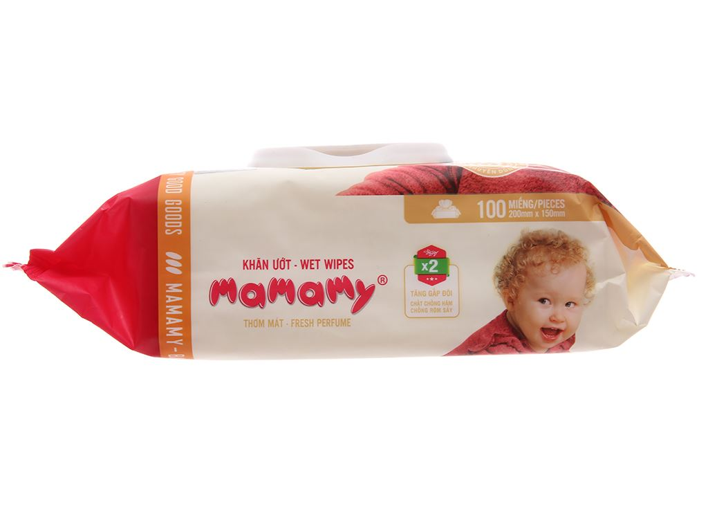 Khăn ướt em bé Mamamy hương thơm mát gói 100 miếng 3