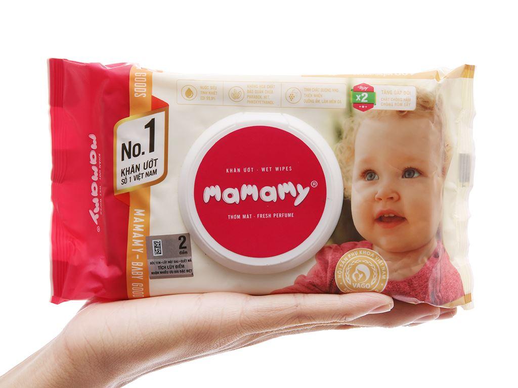 Khăn ướt em bé Mamamy hương thơm mát gói 100 miếng 4