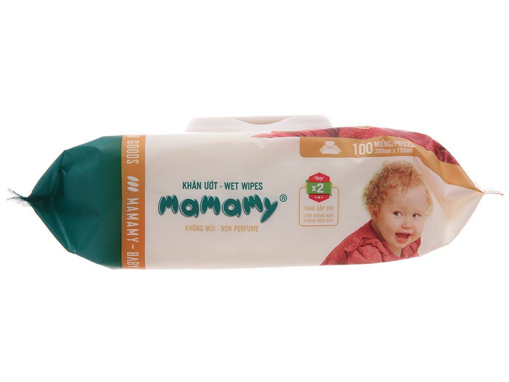 Khăn ướt em bé Mamamy không mùi gói 100 miếng 3