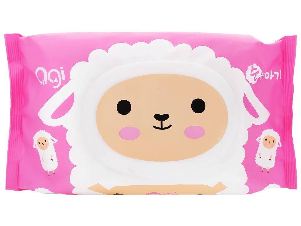 Khăn ướt em bé Agi con mèo/con cừu hương thơm nhẹ gói 80 miếng 5