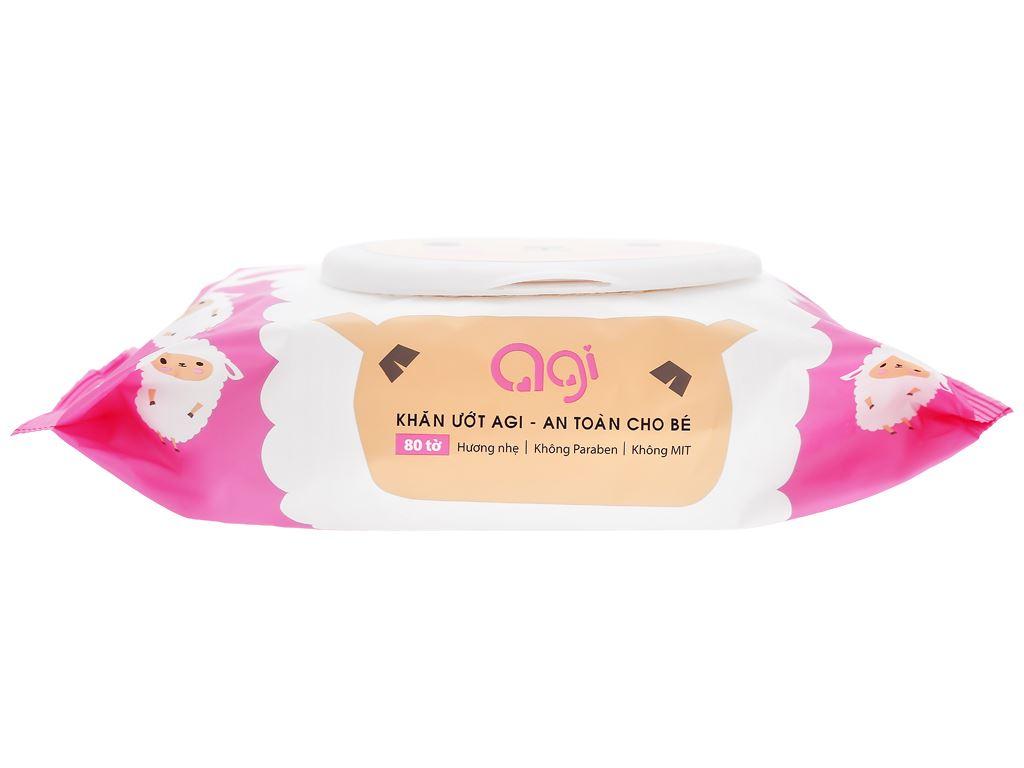 Khăn ướt em bé Agi con mèo/con cừu hương thơm nhẹ gói 80 miếng 7