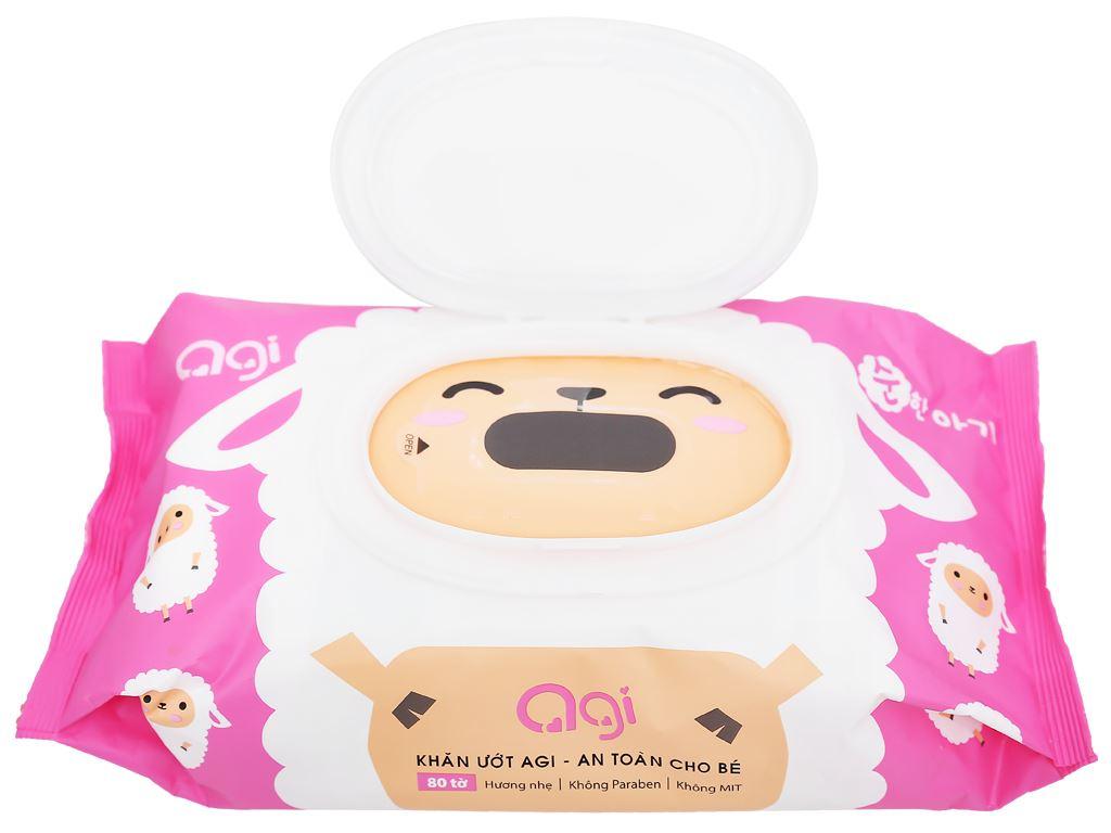 Khăn ướt em bé Agi con mèo/con cừu hương thơm nhẹ gói 80 miếng 11