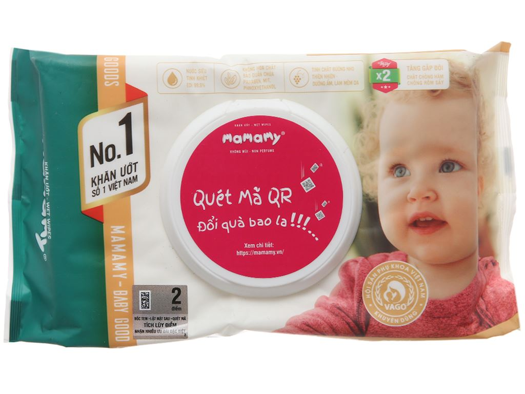 Khăn ướt em bé Mamamy không mùi gói 80 miếng 1