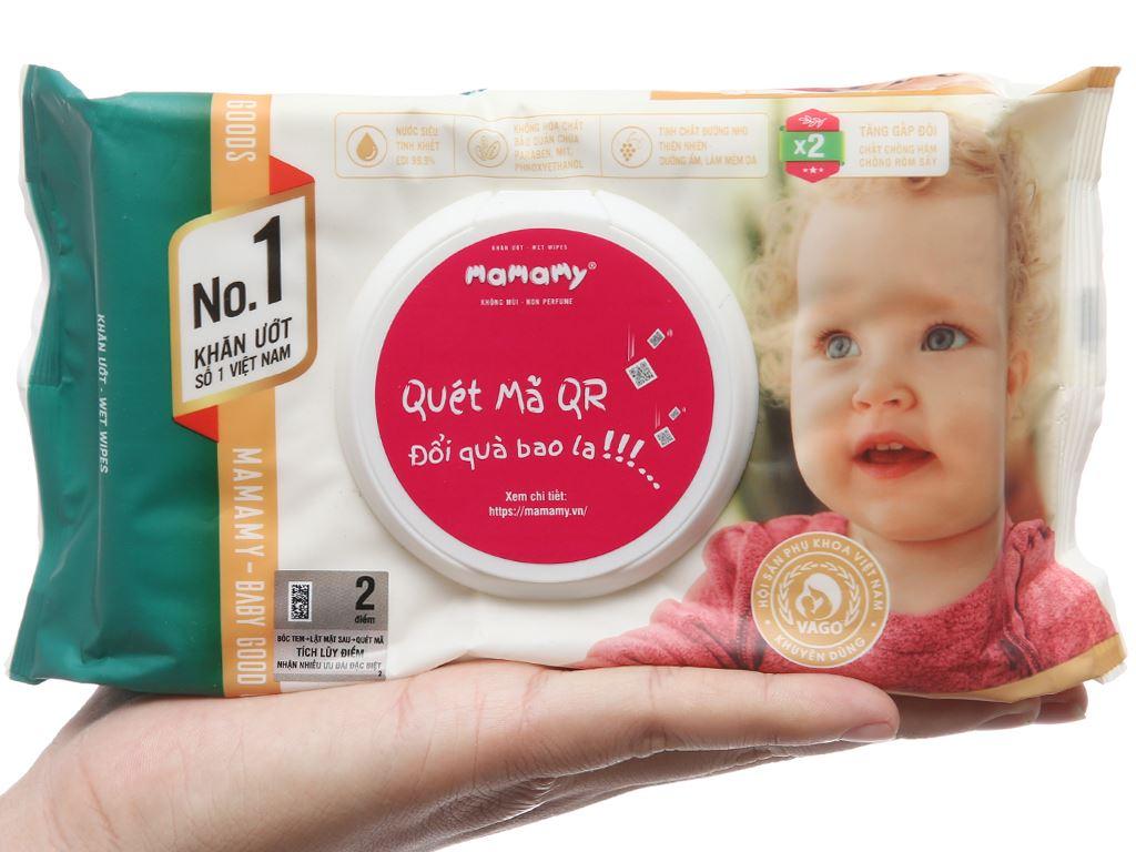 Khăn ướt em bé Mamamy không mùi gói 80 miếng 3