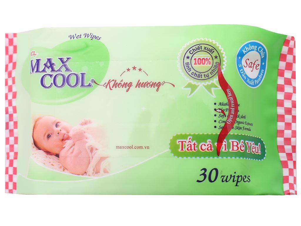 Khăn ướt em bé Max Cool không mùi gói 30 miếng 1
