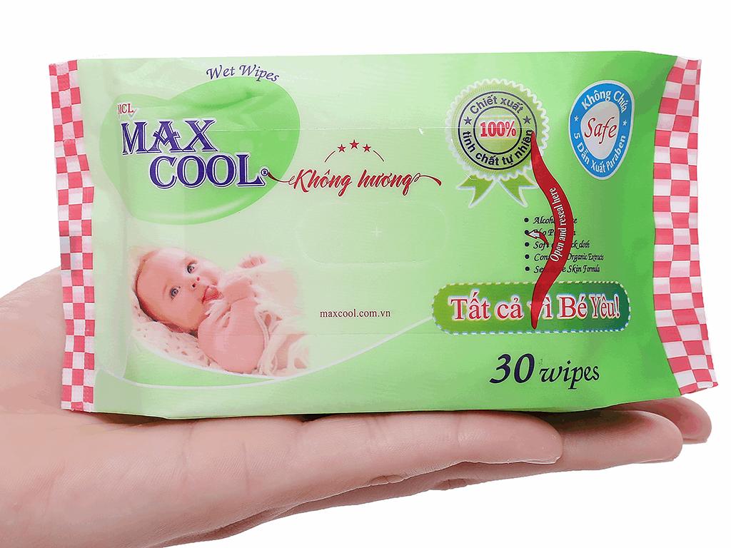 Khăn ướt em bé Max Cool không mùi gói 30 miếng 4