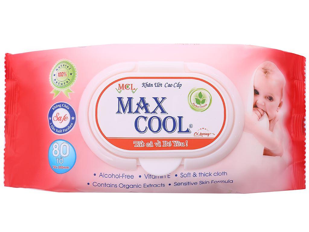Khăn ướt em bé Max Cool hương tự nhiên gói 80 miếng 1