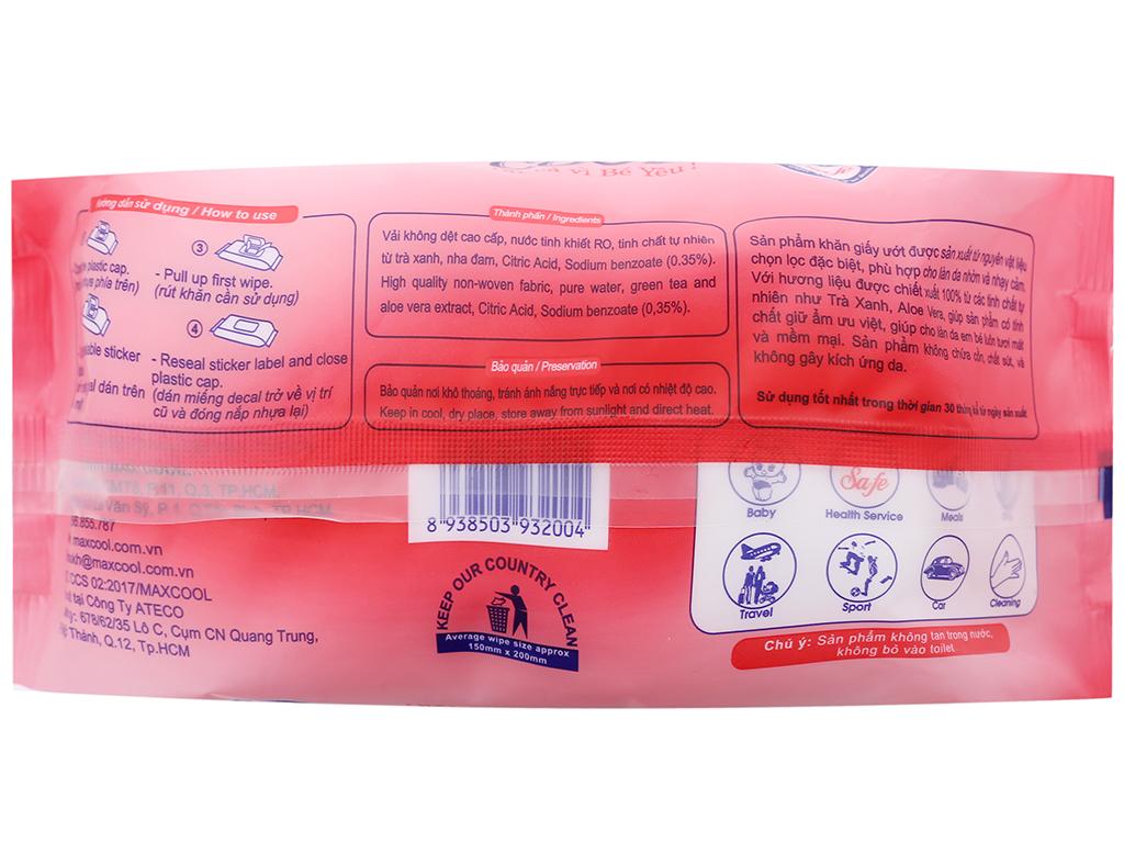 Khăn ướt em bé Max Cool hương tự nhiên gói 100 miếng 2